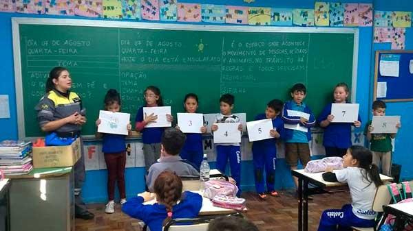 estudantes da Escola Castelo Branco - Caxias do Sul: SMTTM promove segurança no trânsito na Escola Castelo Branco