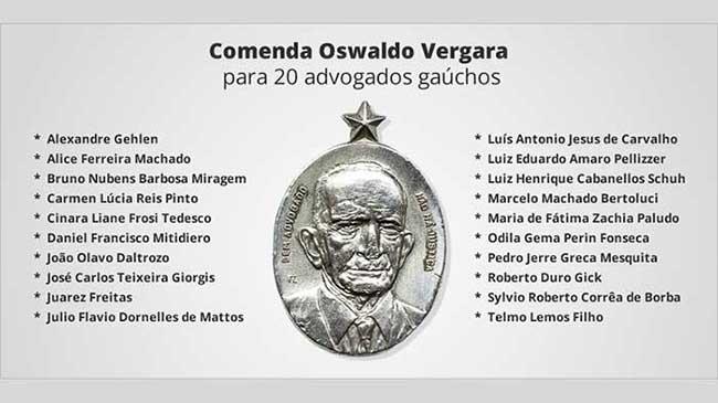 homenageados oab rs - OAB-RS condecora 20 advogados gaúchos em homenagem ao Dia do Advogado