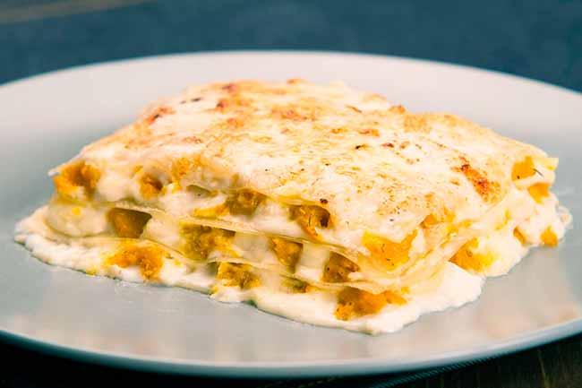 Lasanha de abóbora e queijo chevre - Lasanha de abóbora e queijo chevre
