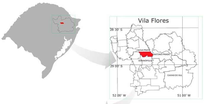 Mapa localização Vila Flores no RS - Vila Flores divulga programação dos Festejos Farroupilha