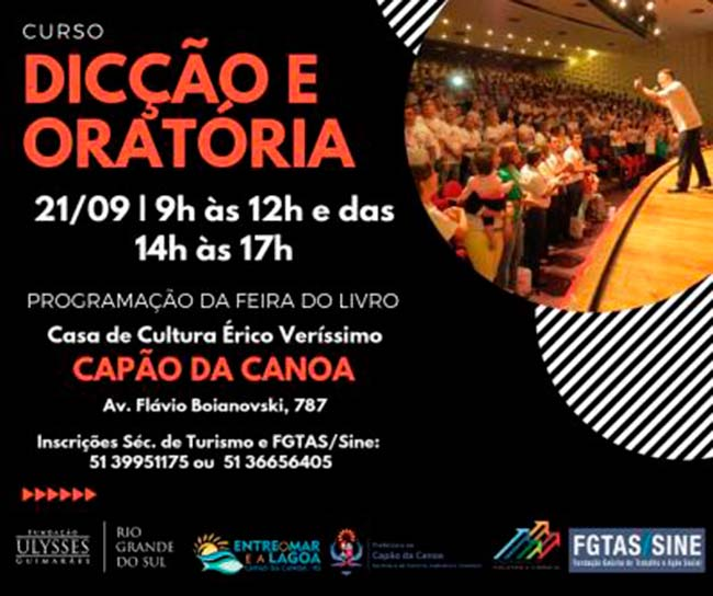 curso capao - Capão da Canoa oferece curso gratuito de dicção e oratória