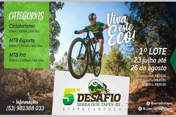 desafio serra tapes - 5º Desafio Serra dos Tapes - Etapa Canguçu é neste domingo