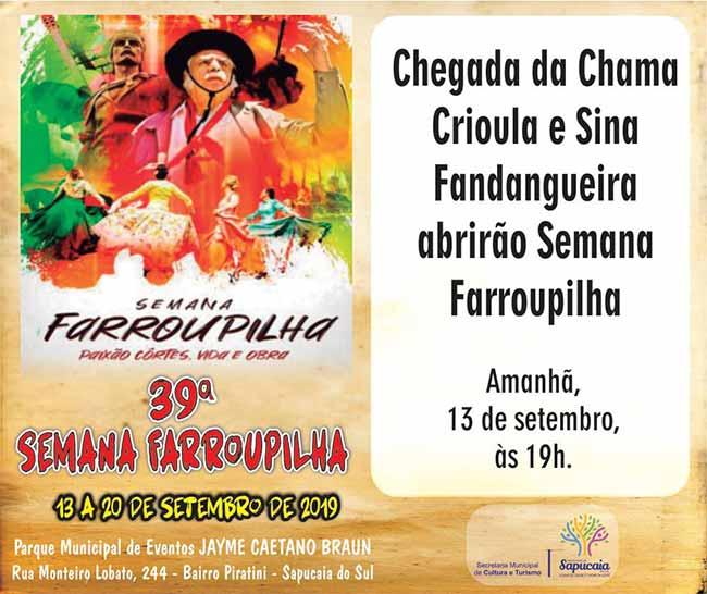 farroup sap - 39ª Semana Farroupilha de Sapucaia do Sul inicia amanhã