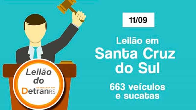 leilaodetran - Leilão do Detran oferta 663 veículos em Santa Cruz do Sul
