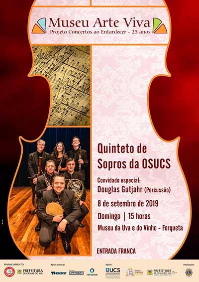"""quinteto de Sopros da OSUCS 1 - Museu da Uva e do Vinho recebe """"Quinteto de Sopros"""" em Caxias do Sul"""
