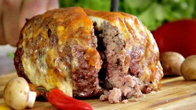 Foto de Bolo de carne moída recheado de bacon